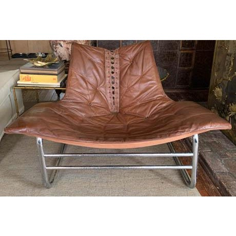 Mid Century Chrome and Leather Corset Tie Back Sling Chair For Sale - Image 13 of 13