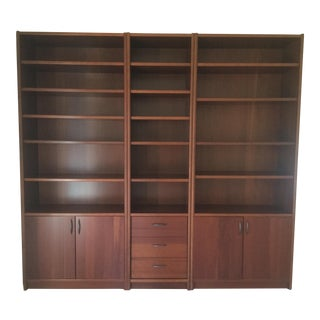 Contemporary 3 Piece Dark Cherry Bookshelves