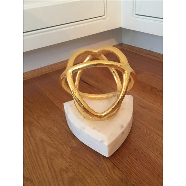 Gold Sphere on Marble Base Art Object - Image 4 of 4