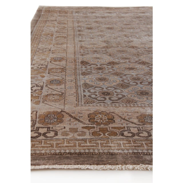 Fine Khotan Hand knotted Bamboo/Silk Camel/Ivory Rug-8'x10' For Sale - Image 4 of 11