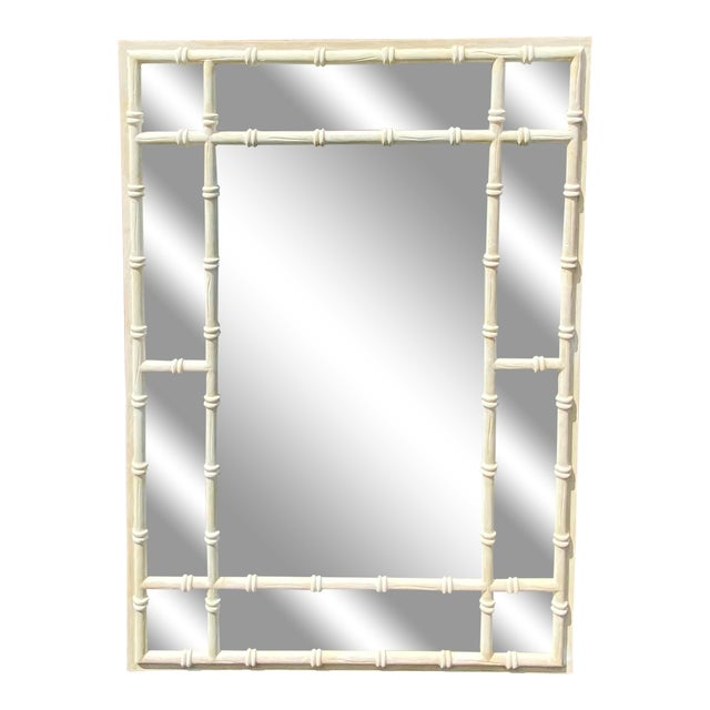 Vintage Coastal Double Bamboo Mirror For Sale