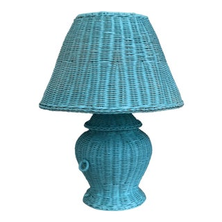 Blue Wicker Urn Lamp and Shade For Sale