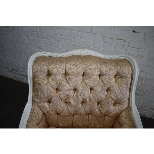 1950s Vintage French Blush Pink Brocade and White Armchair For Sale - Image 9 of 10