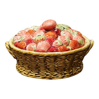 """Mid-Century French Painted Barbotine Trompe L""""Oeil Plum Dish From Sarreguemines For Sale"""