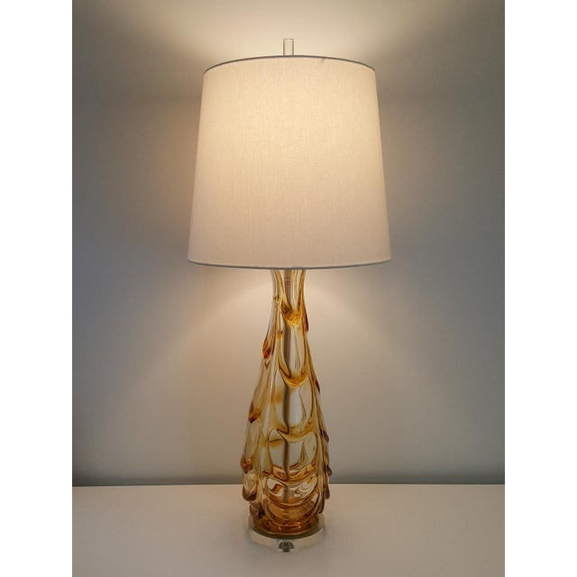 Mid-Century Modern Butterscotch Murano Glass Lamp For Sale - Image 10 of 11