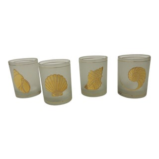 Set of (4) Double Old-Fashioned Frosted Glass Drinking Glasses For Sale