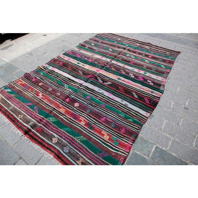 Tribal Turkish Kilim Rug - 8' 8'' X 5' 10'' For Sale - Image 3 of 11