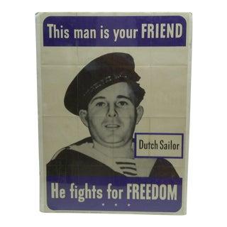 "Circa 1942 Vintage World War II ""Dutch Sailor"" Poster For Sale"