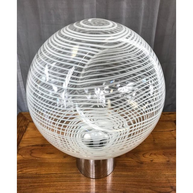 Large and Uncommon Italian Glass Globe Lamp Attributed to Venini - Image 3 of 9