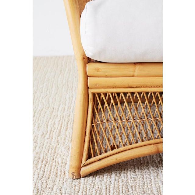 Tan Midcentury Bamboo Rattan Wicker Three-Seat Sofa For Sale - Image 8 of 13