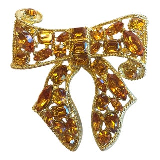 Kenneth Jay Lane Bow Amber Rhinestones Gold Plated Brooch For Sale