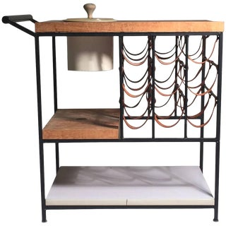 Arthur Umanoff Bar Cart With Wine Rack and Butcher Block For Sale