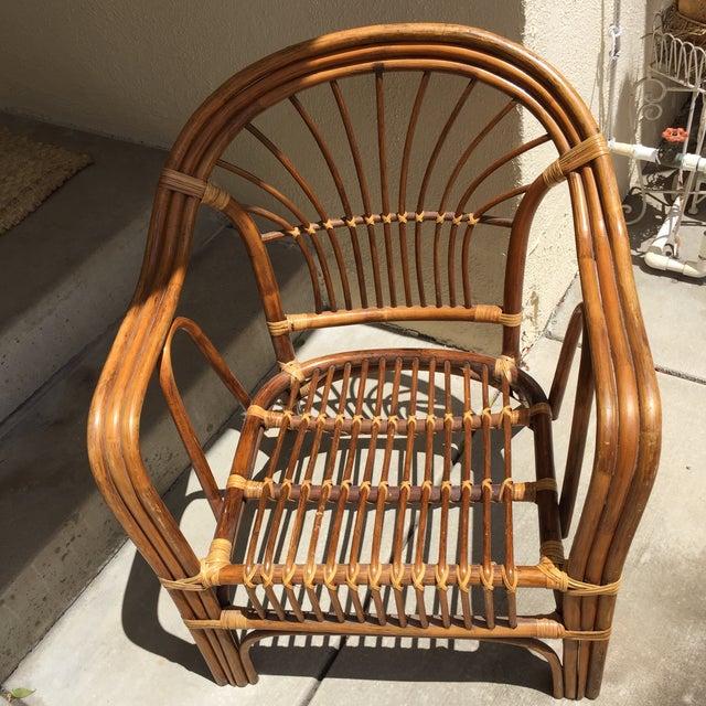 Vintage Boho Rattan & Bamboo Armchair - Image 8 of 8