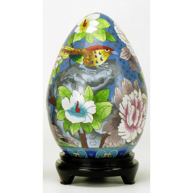 "Pair 11.5"" Colorful Cloisonne Eggs For Sale In Chicago - Image 6 of 11"
