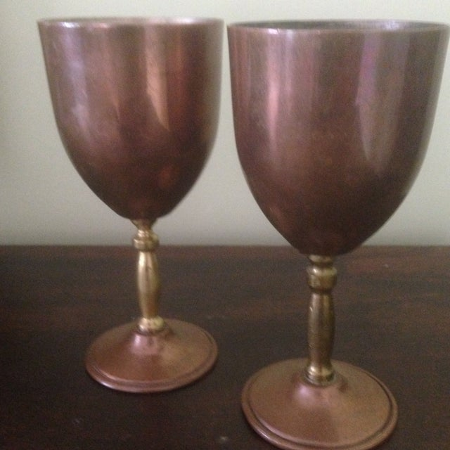 Copper & Brass Goblets - a Pair - Image 10 of 11