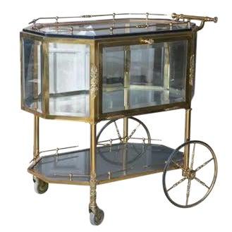 Bronze & Glass Vitrine Tea Wagon Cart For Sale