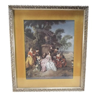 "Vintage ""Gathering in the Garden"" French Framed Fragonard Print For Sale"