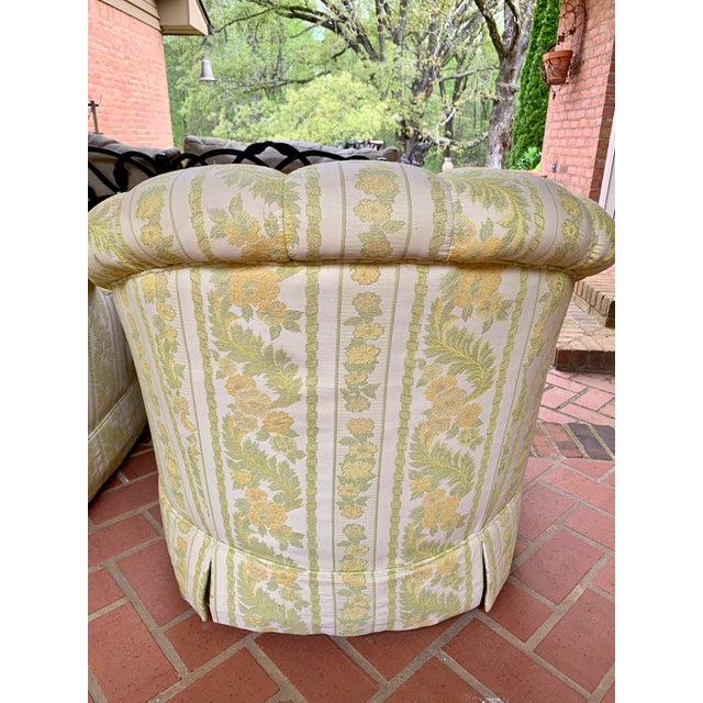 Boho Chic 1960s W & J Sloane Shabby Chic Tub Chairs With Casters & Original Upholstery - a Pair For Sale - Image 3 of 10