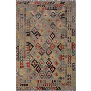 Kilim Betsy Hand-Woven Wool Rug -5′7″ × 8′4″ For Sale