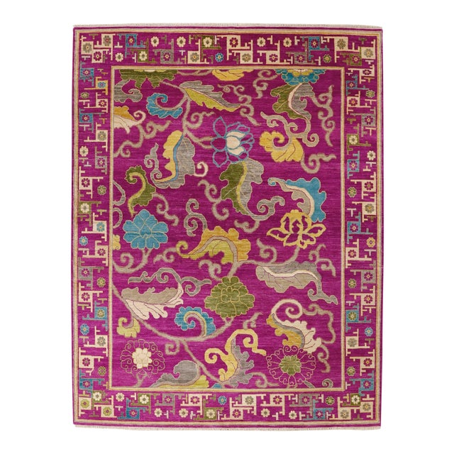"Exotic Fuschia Chinese Design Rug, 8' X 10'3"" For Sale"