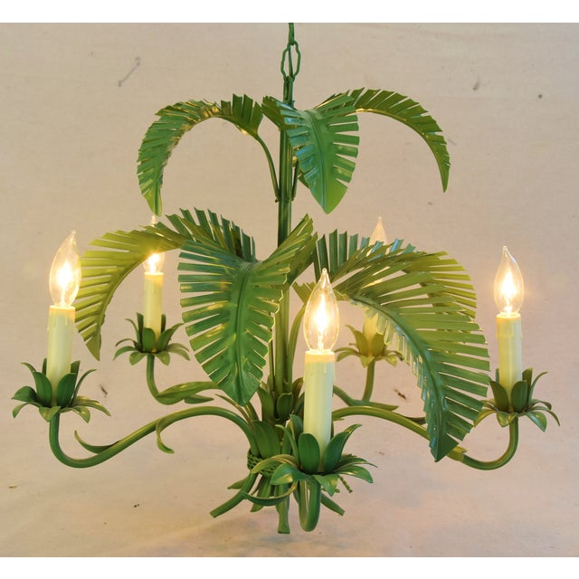 Vintage Five-Arm/Light Italian Palm Leaf Tropical Tole Chandelier For Sale - Image 5 of 11