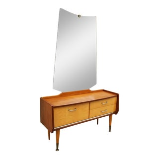 1960s Danish Modern Vanity Makeup Dressing Table With Mirror For Sale