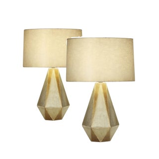 Kravet Faceted Silver/Gold Ceramic Table Lamps - a Pair For Sale