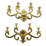 Image of Vintage Mid-Century Four-Arm Brass Candle Sconces - a Pair For Sale