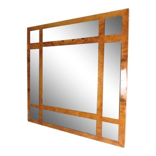 Vintage Modern Burlwood Mirror in the Style of Milo Baughman For Sale