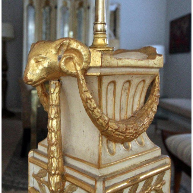 French Gilt Wood Rams Head Paw Feet Table Lamp For Sale - Image 4 of 13
