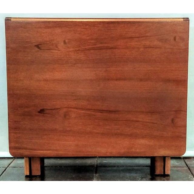 "Chocolate Vintage 1960s Mid-Century Norwegian Modern Bendt Winge ""Ellipse"" Style Gate-Leg Drop-Leaf Table For Sale - Image 8 of 11"