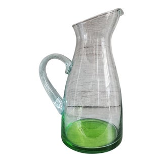 Vietri Recycled Glass Handblown Green Tinted Pitcher For Sale