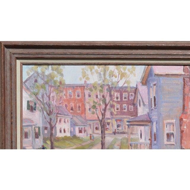 Vintage; circa 1950's, Original John W. Wagner, (1925), oil painting, of a city neighborhood scene of either Boston, Mass....