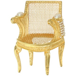 Large Karl Lagerfeld Gilt Gold 3-D Chair Brooch With Pearls For Sale