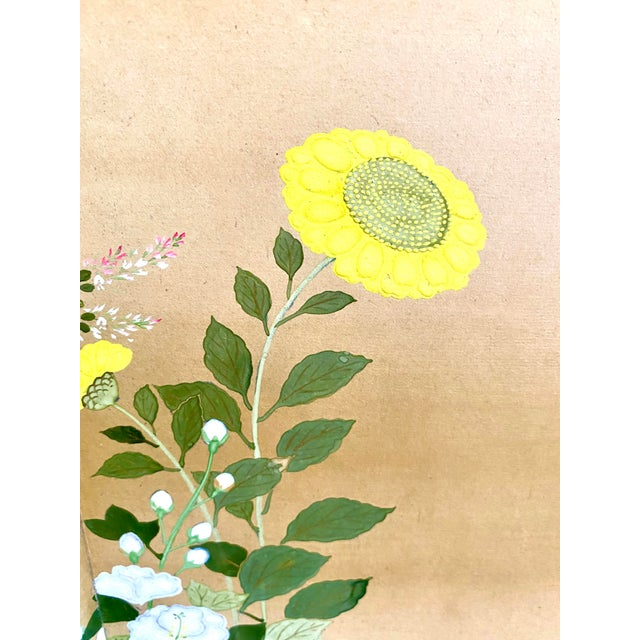Late 19th Century 19th Century Japanese Byobu 6-Panel Table Screen With Summer Flowers For Sale - Image 5 of 13