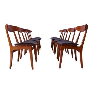 Set of Eight Sculptural Danish Teak Dining Chairs by Vilhelm Wohlert for Søborg For Sale