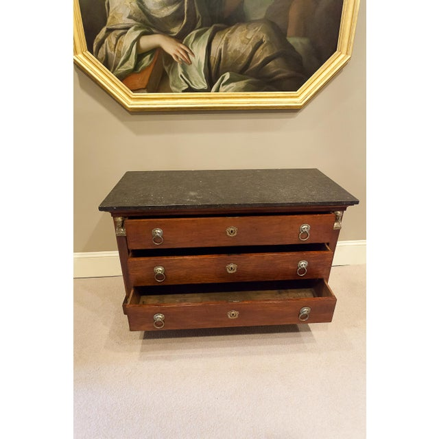 Louis Philippe Empire Style Stone Top Three-Drawer Commode, France Circa 1840 For Sale - Image 10 of 13
