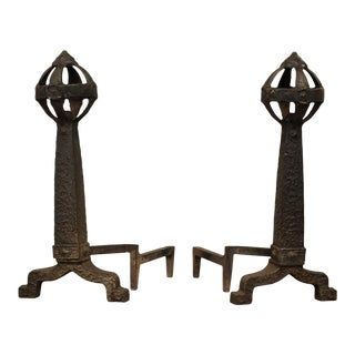 Medieval Revival Antique Pair Andirons For Sale