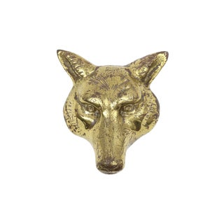 Vintage Brass Fox/Wolf/Coyote Head Door Knocker For Sale