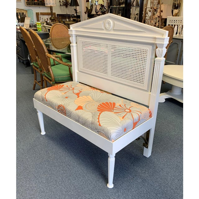 Mid 19th Century Vintage Neoclassic Caned Hall Bench For Sale - Image 4 of 11