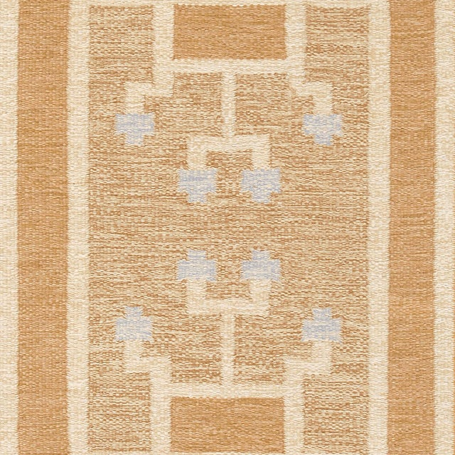 "Mid-Century Modern Vintage Swedish Flat Weave Rug by Ingegerd Silow - 5'6""x7'7"" For Sale - Image 3 of 5"