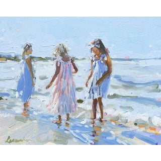 Contemporary Laura Lacambra Shubert Painting, Three Girls on the Beach For Sale