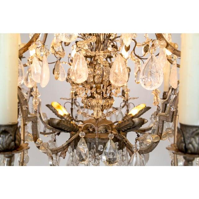 Metal Rare Large Silver Gilt Bronze Rock Crystal Flower Bouquet 20-Light Chandelier For Sale - Image 7 of 13