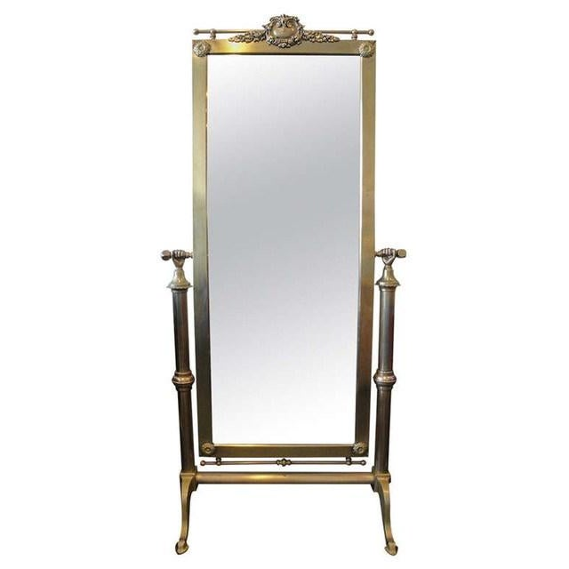 1940s Brass French Cheval Standing Mirror | Chairish