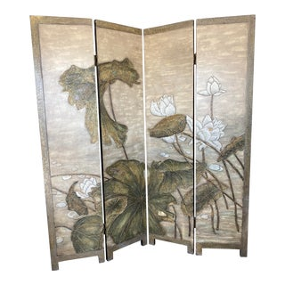 1980s Four Panel Floor Screen For Sale