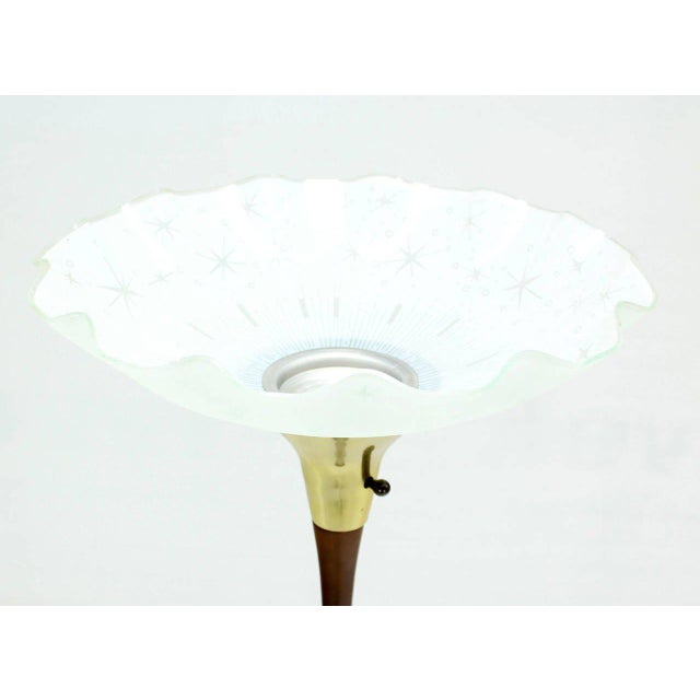 Faux Bamboo Floor Lamp with Large Shade For Sale - Image 4 of 6