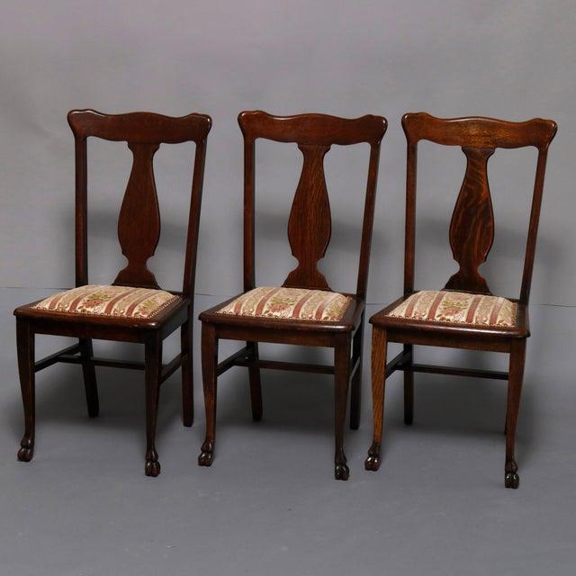 R. J. Horner & Co. 20th Century Vintage Rj Horner Carved Mahogany T-Back Upholstered Dining Chairs- Set of 6 For Sale - Image 4 of 13