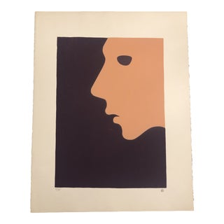 Purple & Peach Figurative Profile Minimalist Hand-Painted Serigraph 4/38 by Geoffrey Graham For Sale