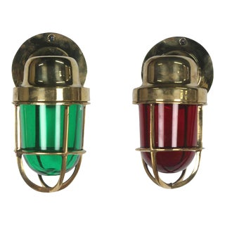 1970s Brass Port and Starboard Navigational Lights- a Pair For Sale