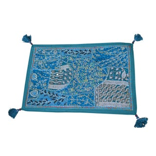 Light Blue Indian Hand-Embroidered & Beaded Silk Pillow Cover For Sale
